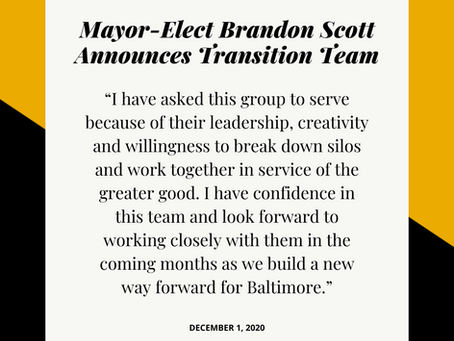 December 1: Mayor-Elect Brandon Scott Announces Transition Team Members