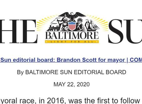 May 22: The Baltimore Sun Endorses Brandon for Mayor!