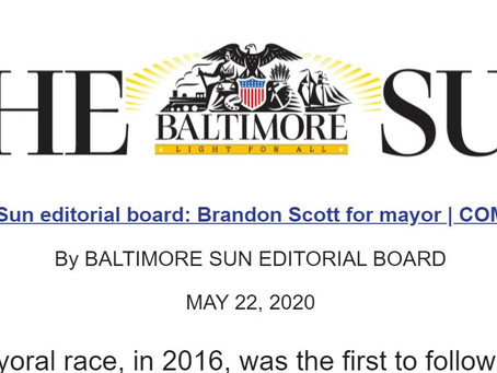May 22: The Baltimore Sun Endorses Brandon for Mayor!