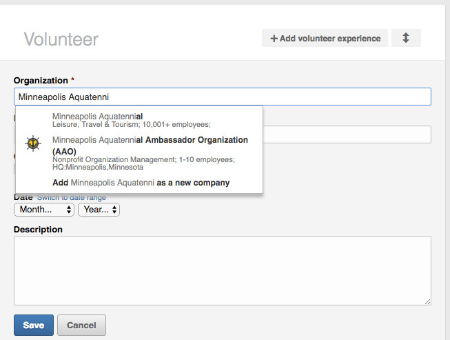 Adding AAO in LinkedIn Profile