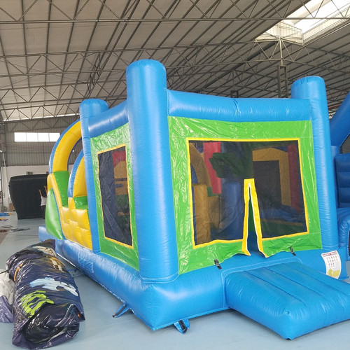 green and yellow bouncy castle with obstacle slide - Bounce House For Sale