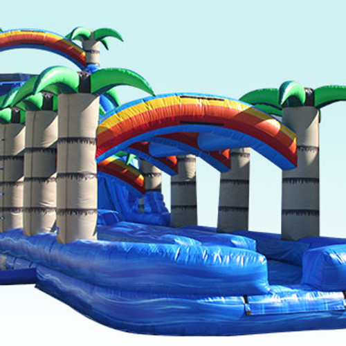 tropical dual lane water slide - Blow Up Water Slides