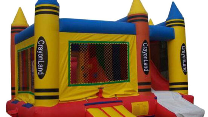 Crayon Jumpy Castle With Slide
