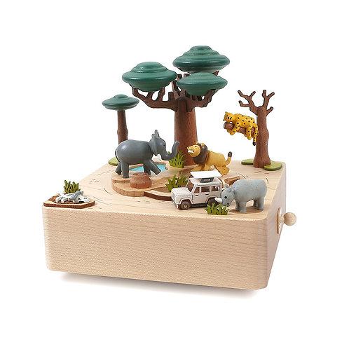 Boîte à musique en bois - Safari