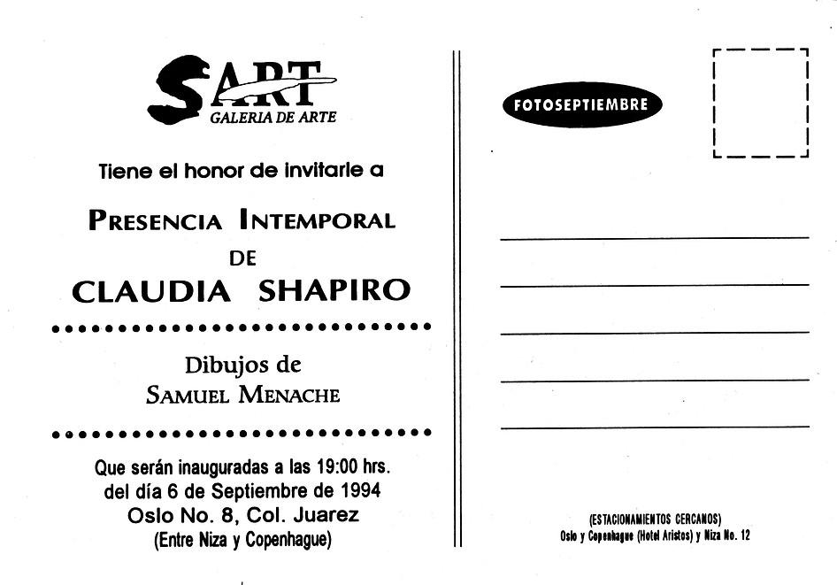 Claudia Shapiro, Flyer, 1994/09/06, Presencia Intemporal