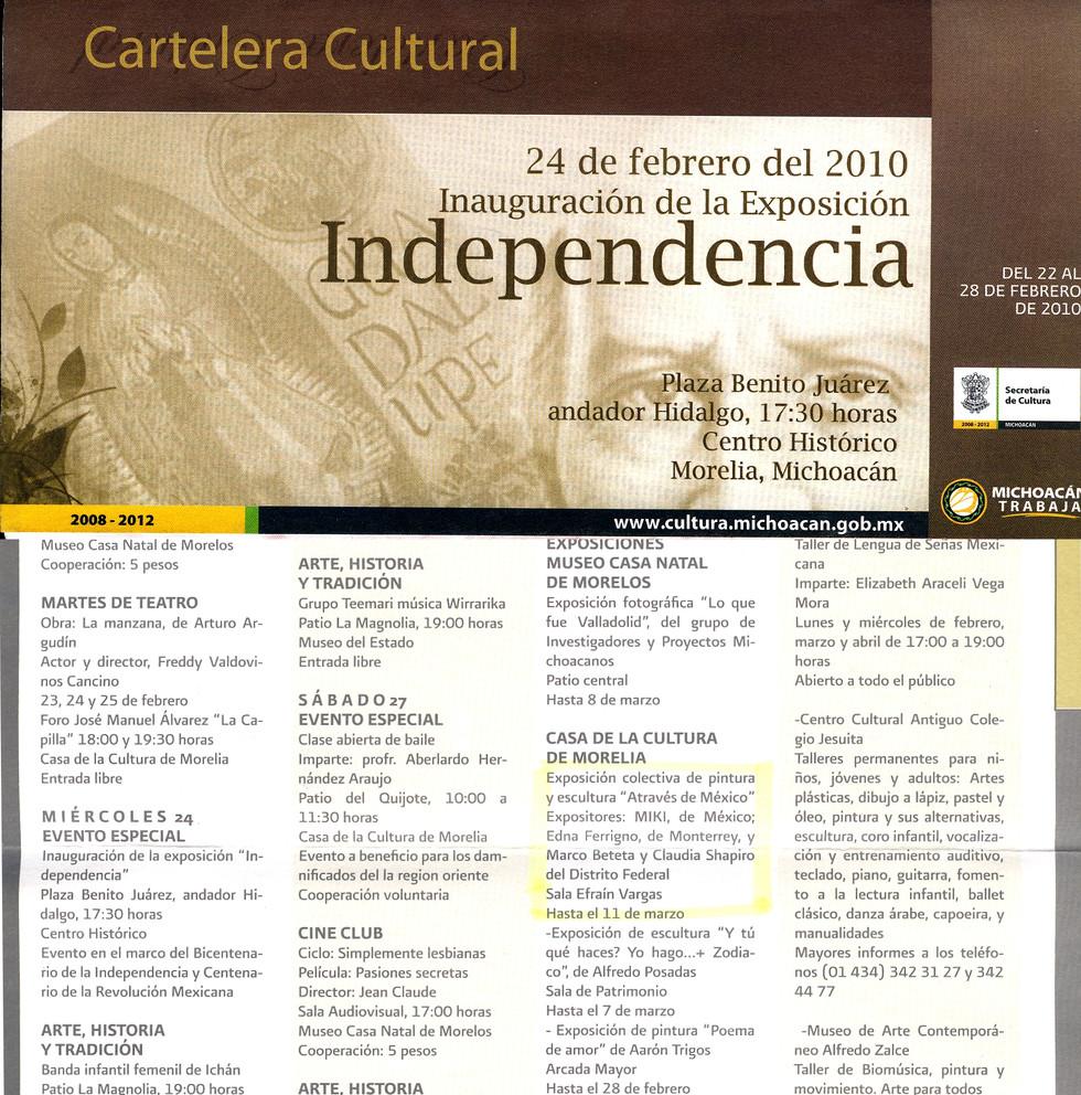 Shapiro, Flyer, 2010/02/22, Casa Cultura Morelia