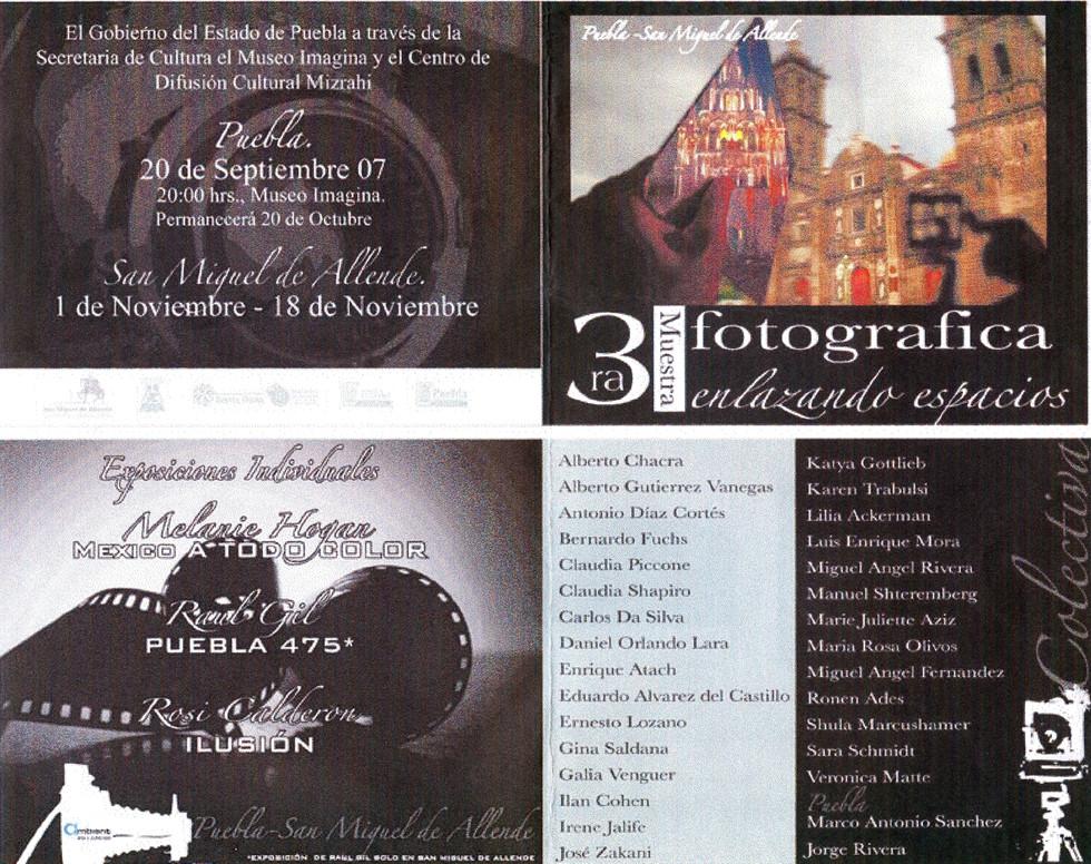 Claudia Shapiro, Flyer, 2007/09/20, 3a. Muestra Fotográfica Enlazando Espacios, PUEySMAllende