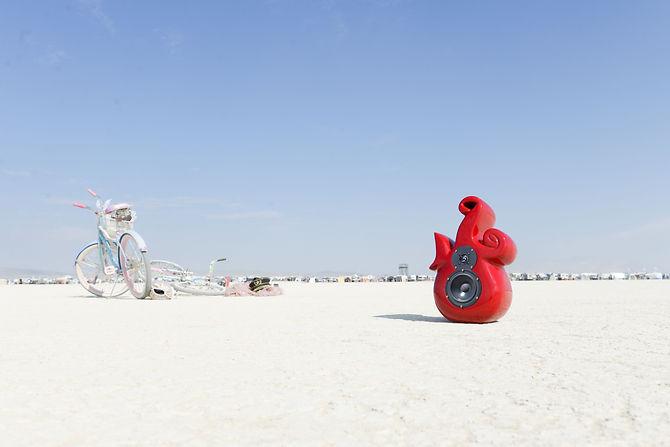 Intervox original pop art design speaker in Nevada desert