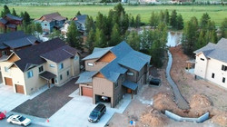 Drone photo of house.  Painted