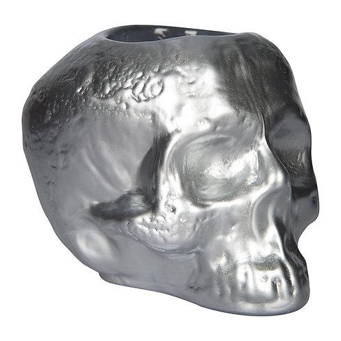 Kosta Boda Still Life Skull Votive - Silver