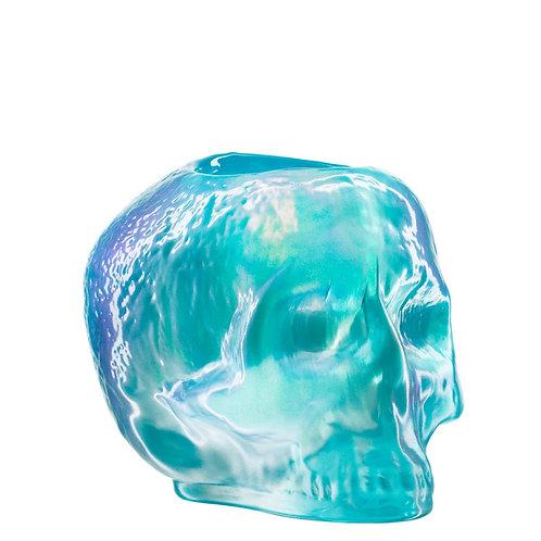 Kosta Boda Still Life Skull Votive - Light Blue