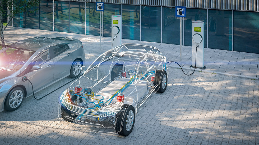 generic electric car with battery visibl