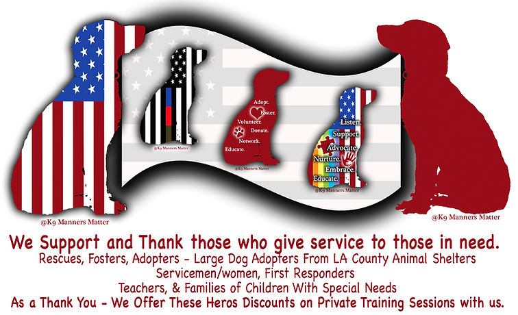K9 Manners Matter thanks those who give service to those in need by offering discounted rates.