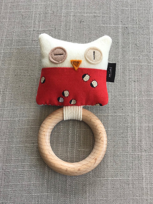 Owl (Red Ladybug) Teething Ring + Rattle