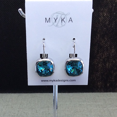 Myka Indicolite Small Cushion Earrings