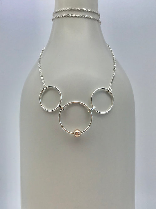 GAM Tri Cricle with Rose Gold Accent Necklace 2