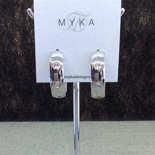 Myka Small Rhodium Hoop Stud Earrings