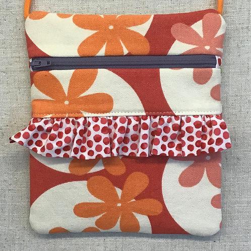 Children's Purse - Orange Flowers with Polka Dot Ruffle