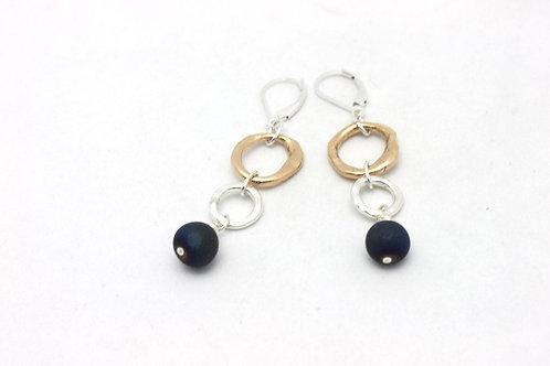 Azure Blue Druzy & Bronze & Fine Silver Link Earrings