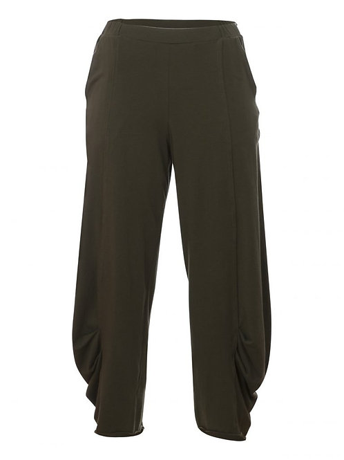 Cotton Fine Knit Pants with Elastic Waistband