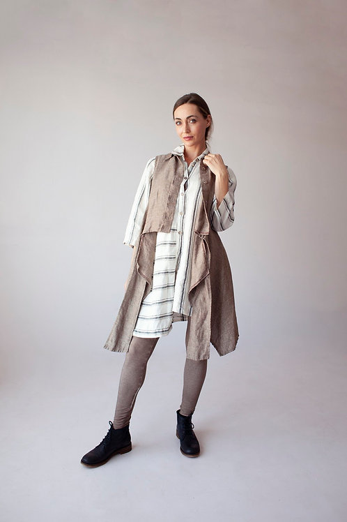 Striped Linen Woven Shirt-Tunic with Long Sleeves
