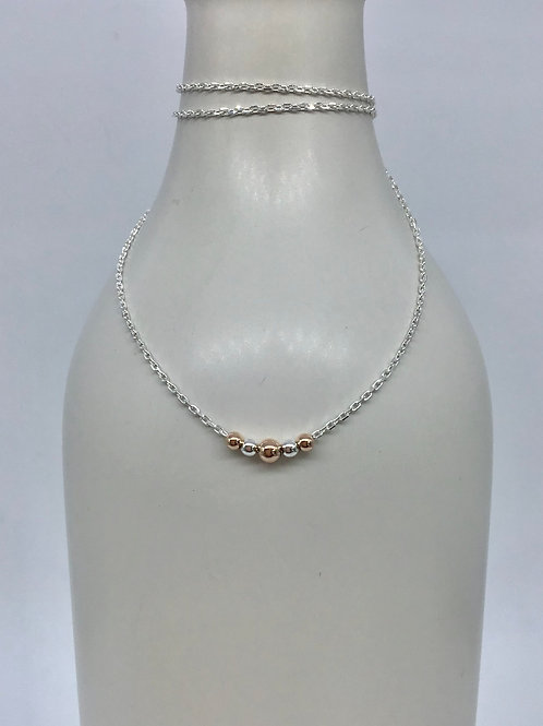 GAM Silver & Rose Gold Ball Necklace 13