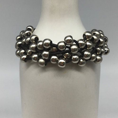 Black Leather Cord Bracelet (Woven with Beads of Pewter) #2
