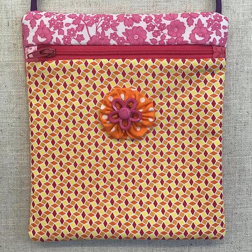 Children's Purse - Yellow Zigzag with Flower Button
