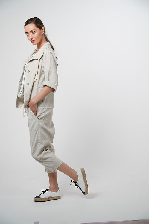 Cotton Woven Sporty Jacket with Long Sleeves