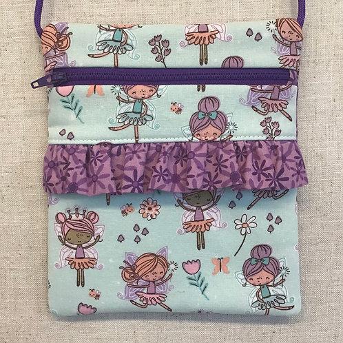 Children's Purse - Fairies with Purple Ruffle