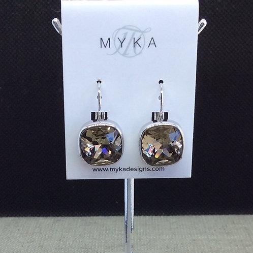 Myka Greige Medium Cushion Earrings