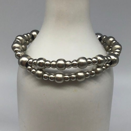 Black Leather Cord Bracelets (Woven with Beads of Pewter) #4