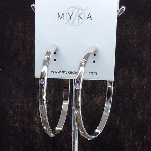 Myka Large Rhodium Hoop Stud Earrings
