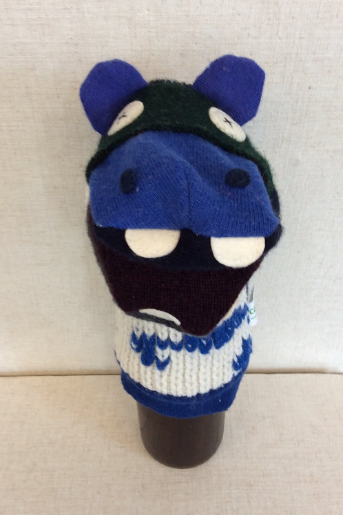 Royal Blue Hippo Hand Puppet