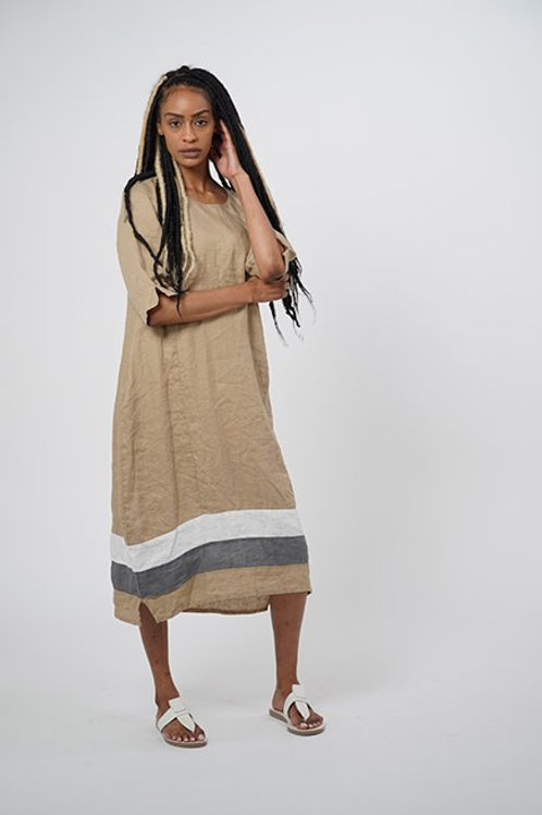 Long Linen Woven Dress with Three-Quarter Sleeves