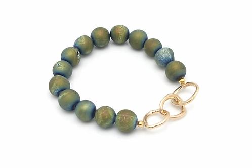 Golden Teal Druzy Stone & Entwined Bronze Links Stretch Bracelet