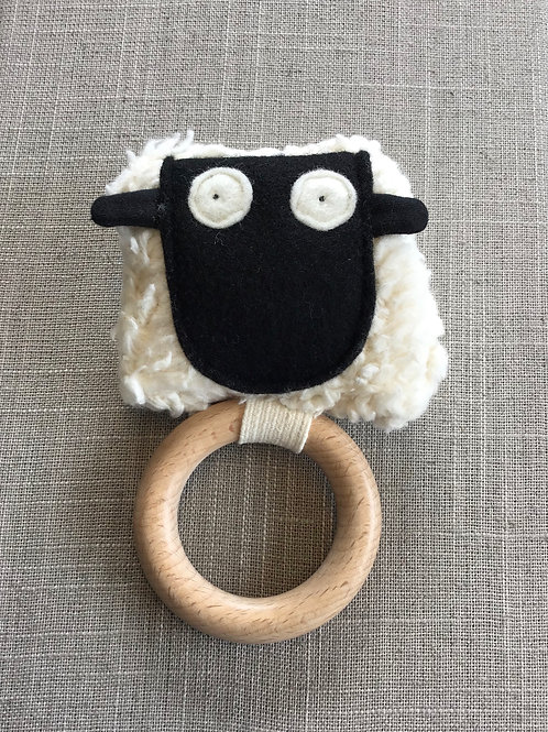 Sheep Teething Ring + Rattle