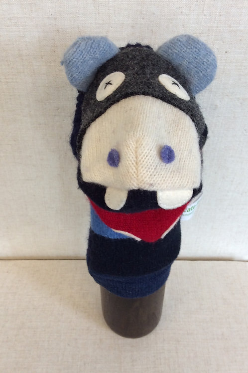 Grey/Blue/Red Mouth Hippo Hand Puppet