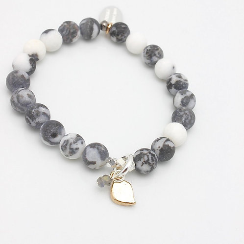 Marbled Snow Agate Stretch Bracelet