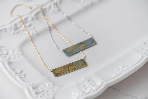 World Map Bar Necklace