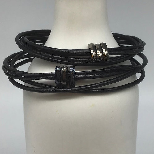 Black Leather Cord Bracelets (Woven with Beads of Pewter) #5