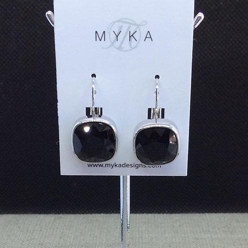 Myka Jet Medium Cushion Earrings