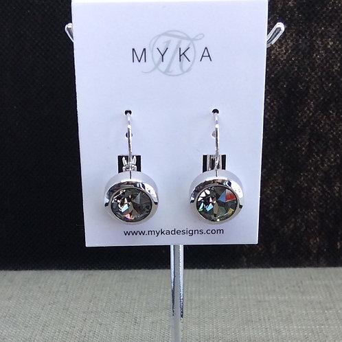 Myka Black Diamond Round Earrings