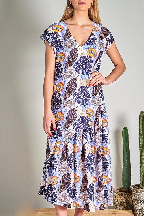 Blue Hawaiian Midi Dress