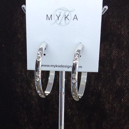 Myka Medium Rhodium Hoop Stud Earrings
