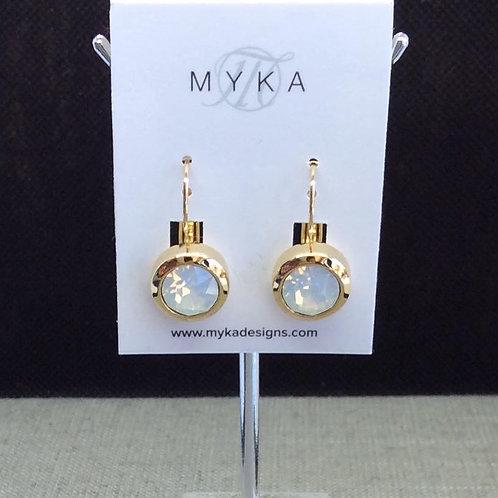 Myka White Opal Round Gold Earrings