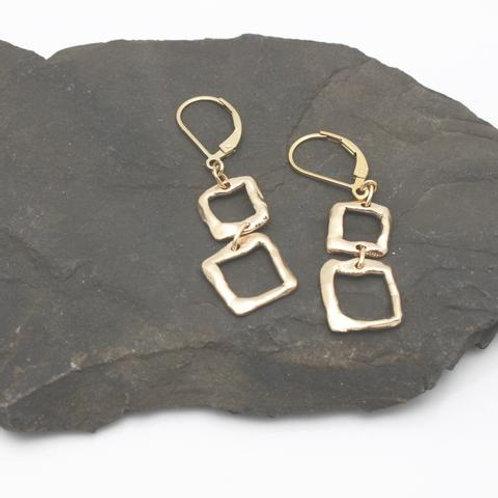 2 Square Bronze Earrings
