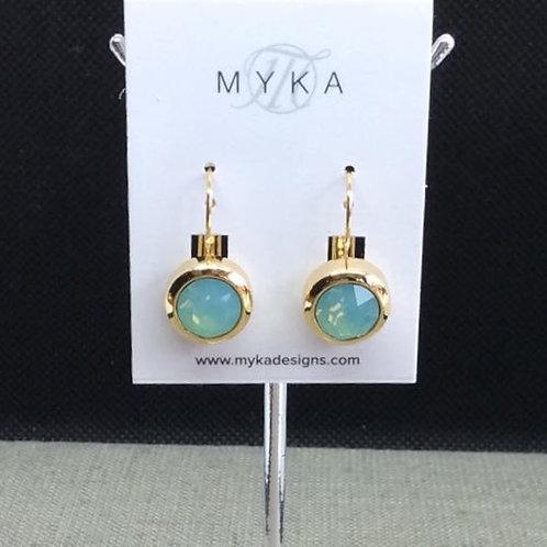 Myka Pacific Opal Round Gold Earrings