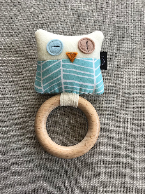 Owl (Turquoise and White) Teething Ring + Rattle