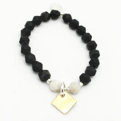 Contour Collection: Matte Black Onyx Starcut Stretch Bracelet